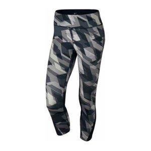 Nike Power Racer Geo Graphic Print Running Crop 3/4 Tights, Black/Gray - Small
